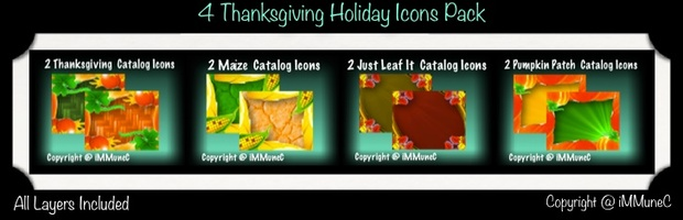 8 Thanksgiving Holiday Catalog Icons With Resell Rights