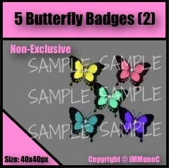 5 Butterfly Badges Set 2