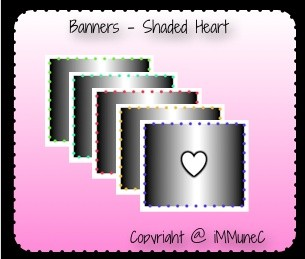 5 Shaded Hearts Banners