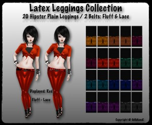 20 Hipster Plain Latex Leggings