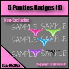 5 Panties Badges Set 1