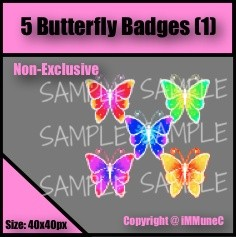 5 Butterfly Badges Set 1