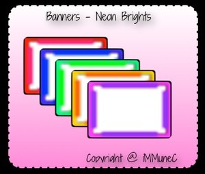 5 Neon Brights Banners