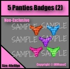 5 Panties Badges Set 2