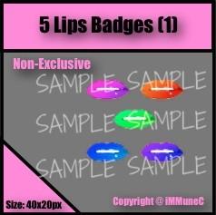 5 Lips Badges Set 1