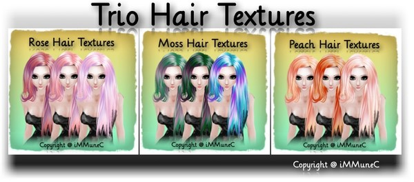 9 Trio Hair Textures With Resell Rights