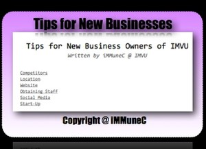 iMMuneC's Tips for New Business Owners of IMVU