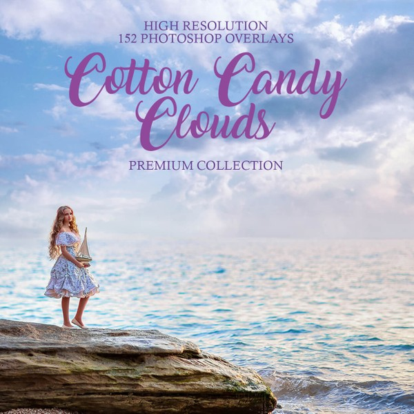 Cotton Candy Cloud Photoshop Overlays