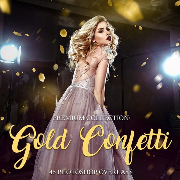 Gold Confetti Photoshop Overlays