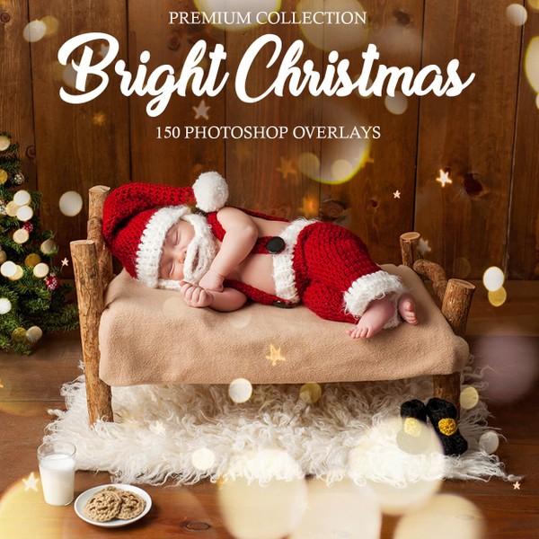 Bright Christmas Bokeh Overlays