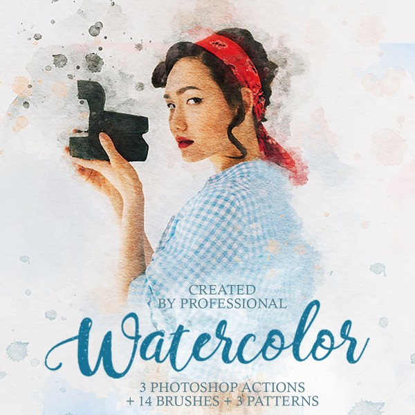 Watercolor Professional Painter Photoshop Actions