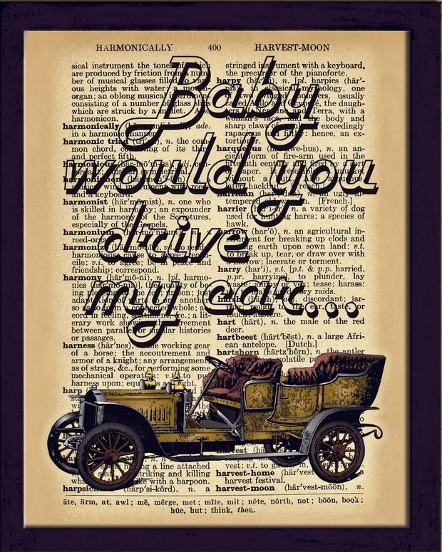Dictionary Art Print, Vintage car, Drive my car, Wall decor, Decor Wall Art