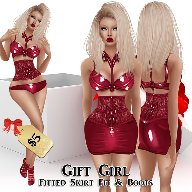 GIFT GIRL SKIRT OUTFIT & HEELS
