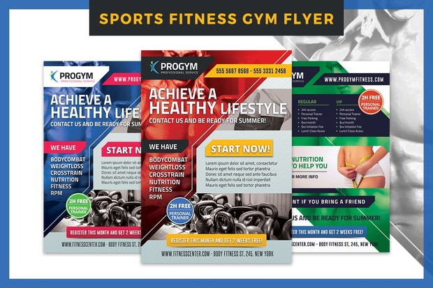 Sports Fitness Gym Business Flyer Template