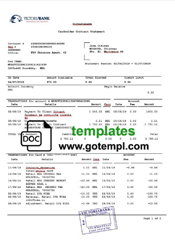 Turkey Bankasi Bank Statement Template In Doc Format F Gotempl