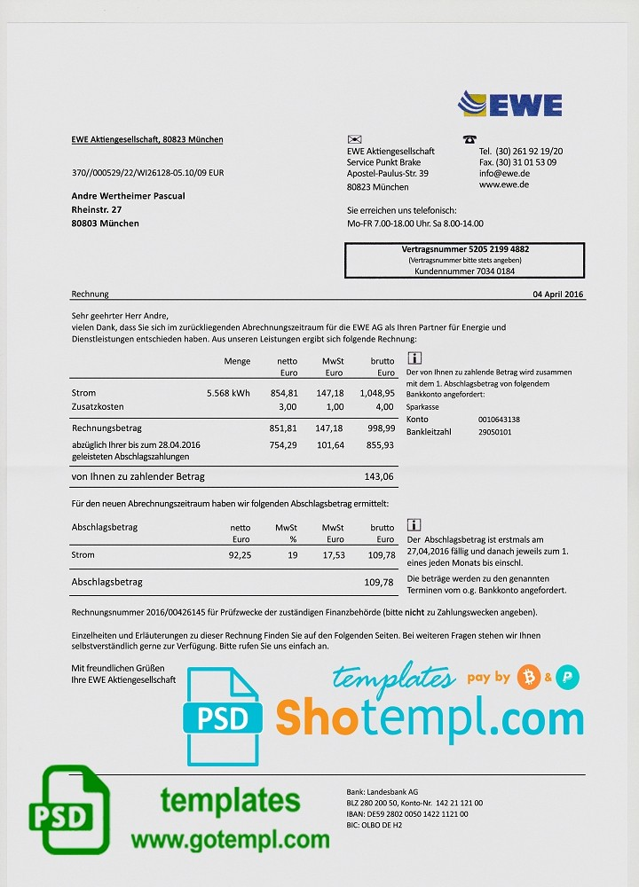 germany ewe utility bill template fully editable in ps