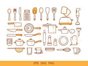 34 Kitchen tools icons - colored line