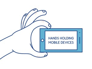 30 Hands holding mobile devices