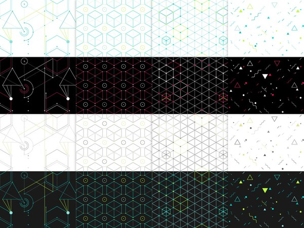 16 Hip geometric seamless patterns