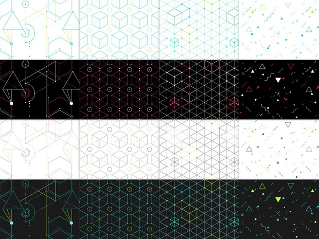 16 Hip geometric seamless patterns