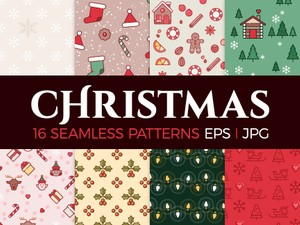 16 Christmas seamless patterns