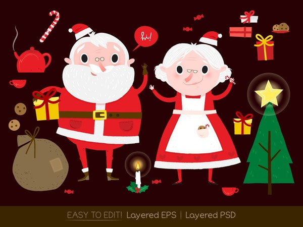 Santa Claus and Christmas drawings