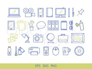 30 Workplace icons - colored line