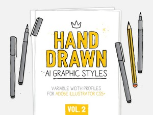 AI 2and drawn styles & brushes vol.2