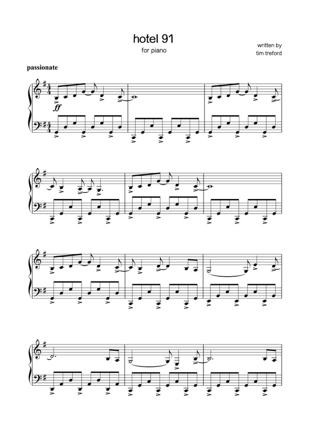 Sheet music - tim treford - hotel 91