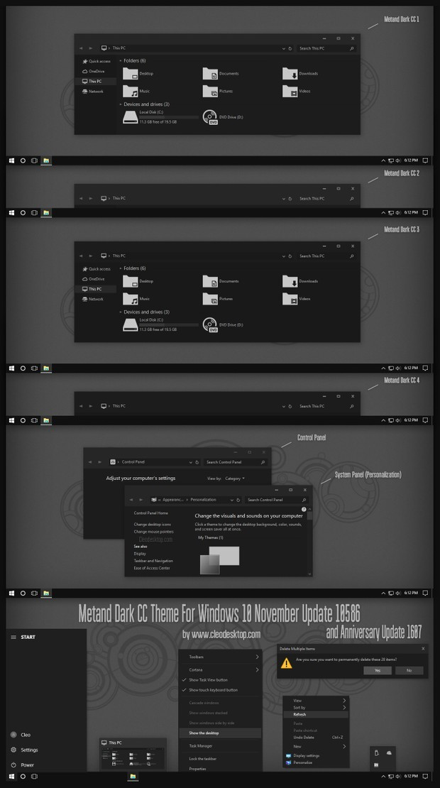 Metand Dark CC Theme For Windows 10