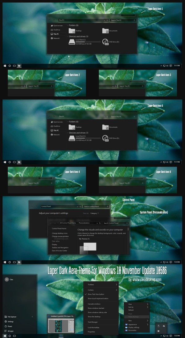 Laper Dark Aero Theme For Windows 10