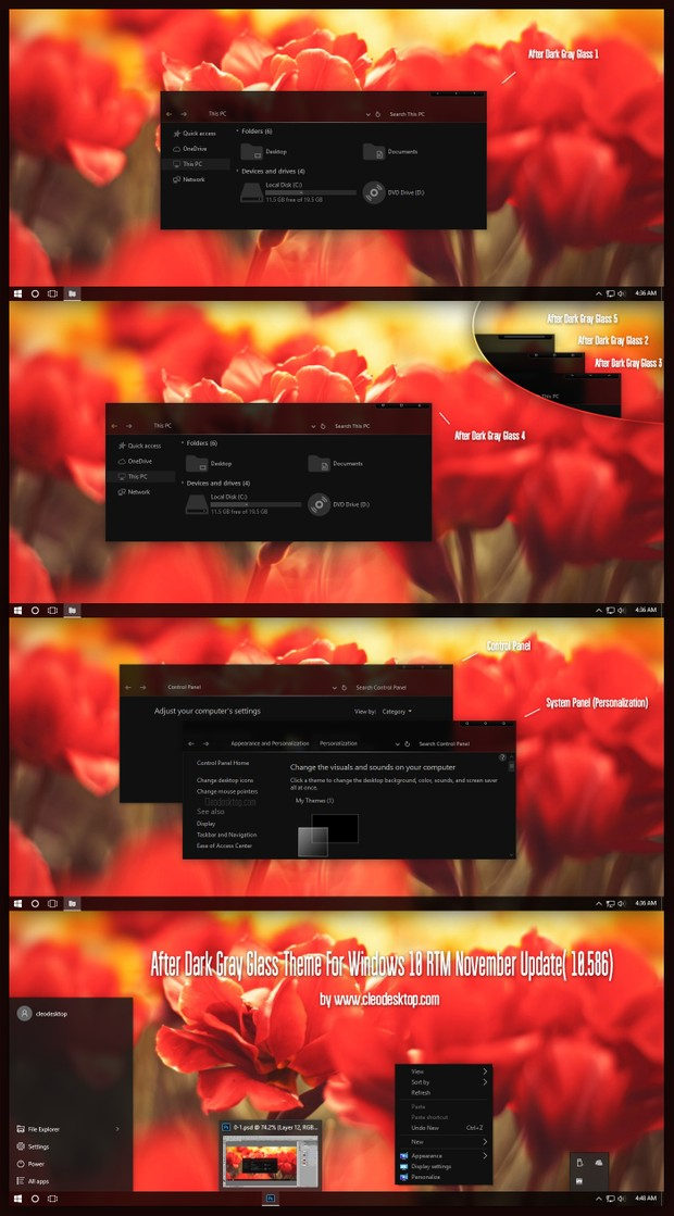 After Dark Gray Glass Theme For Windows 10