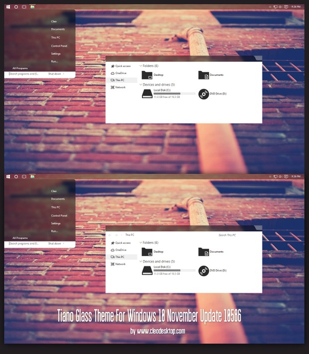 Tiano Glass Theme For Windows10 November Update 10586