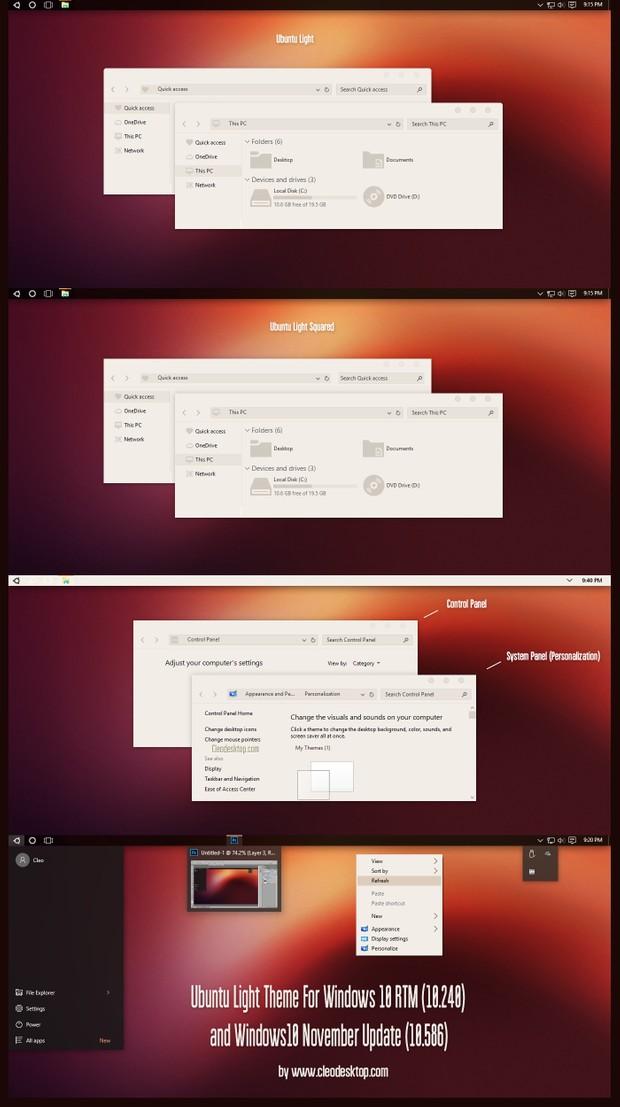 Ubuntu Light Theme For Windows10 November Update (10586)