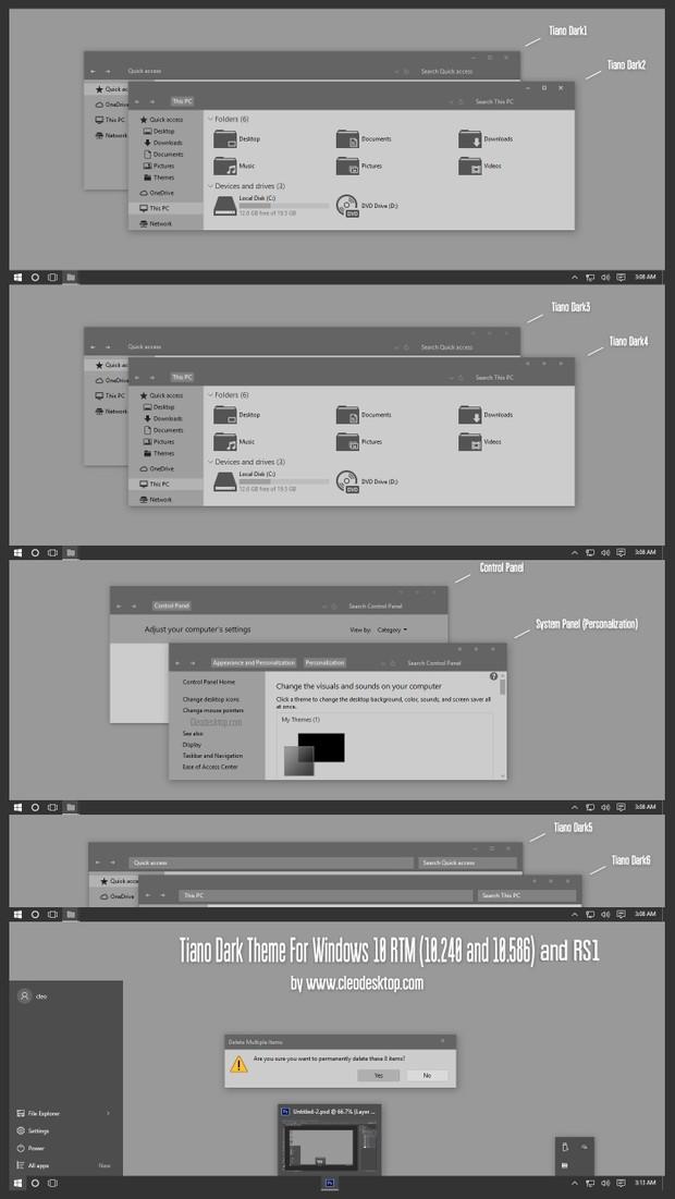 Tiano Dark Theme For Windows 10