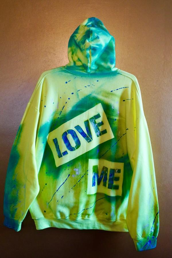 "Custom ""LOVE ME"" Hoodie -neon yellow- 2XL"