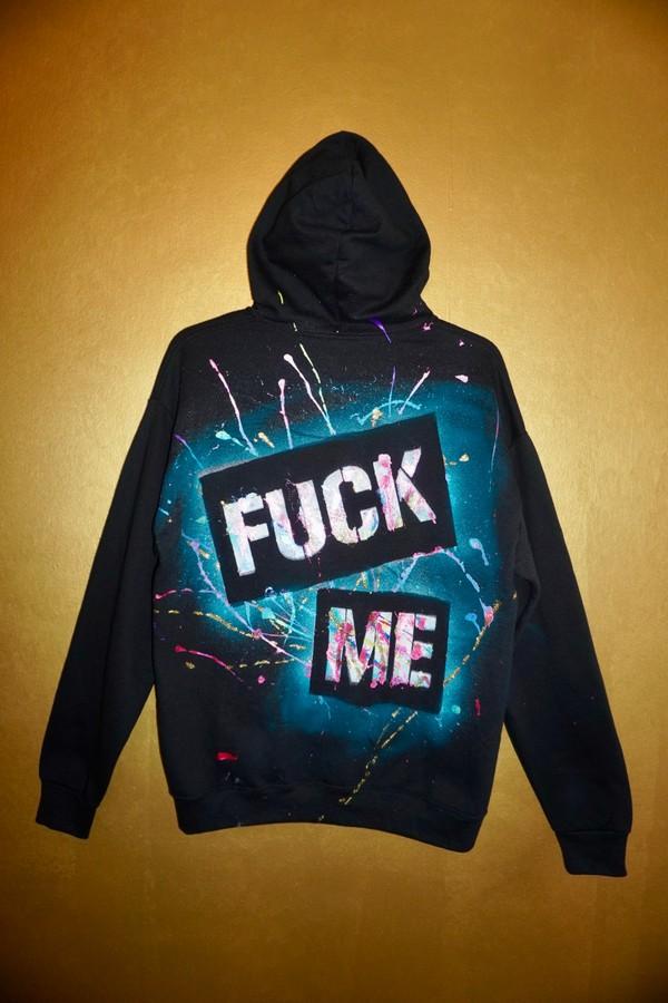"""Custom """"FUCK ME"""" Hoodie - black - L"""