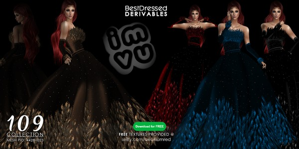 IMVU FREEBIE : BD109 Feather Gown 4 Colors