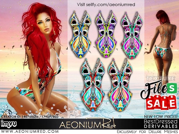 IMVU File Sale! 5 Boho Swimsuits Texture Pack