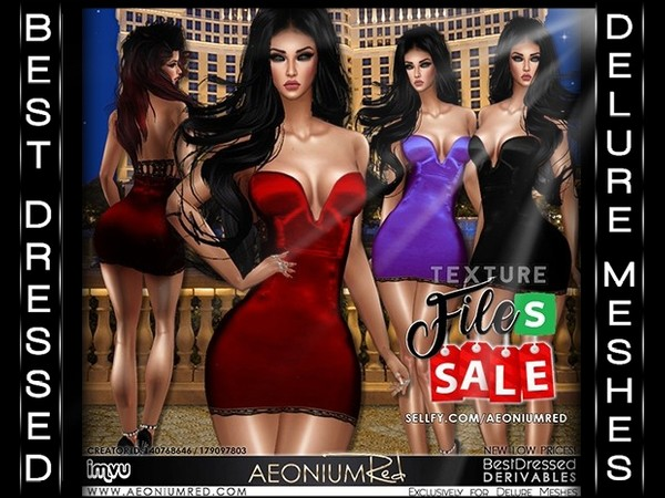 IMVU File Sale! Satin Cocktail Dresses 3 Colors