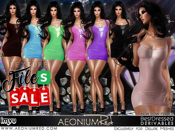 IMVU File Sale! Leather Dresses 7 Colors