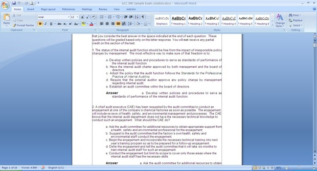 ACC 590 Sample Exam