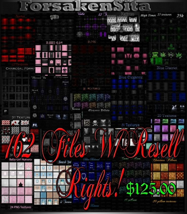 162 Files Room Textures & Pillow textures W/Resell Rights