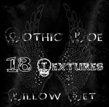 Gothic Poe Pillow Set 18 textures