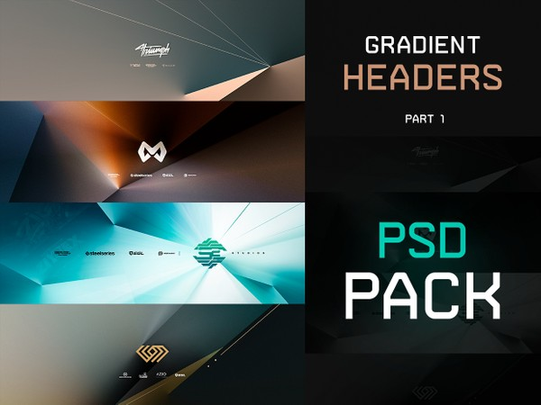 Gradient Headers PSD PACK ( PART 1  )