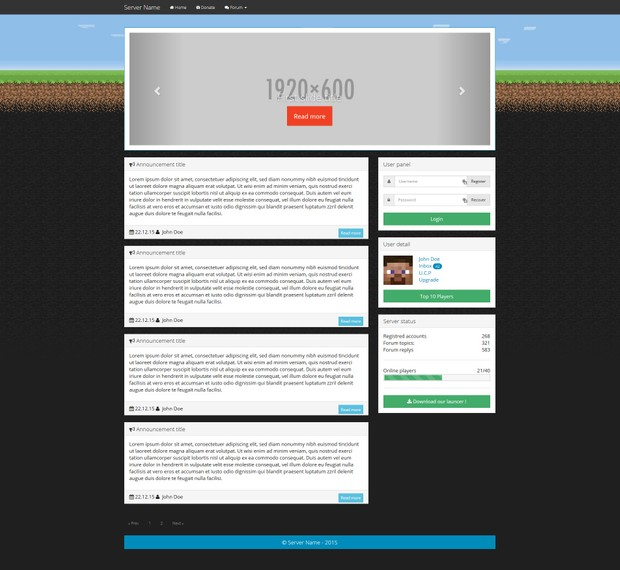 Minecraft Server Bootstrap HTML Template