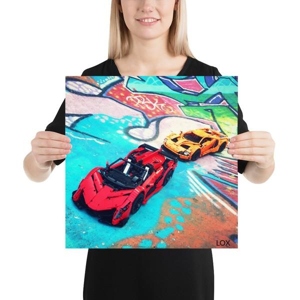 Two cars + graffiti = art 🖼 16x16 poster