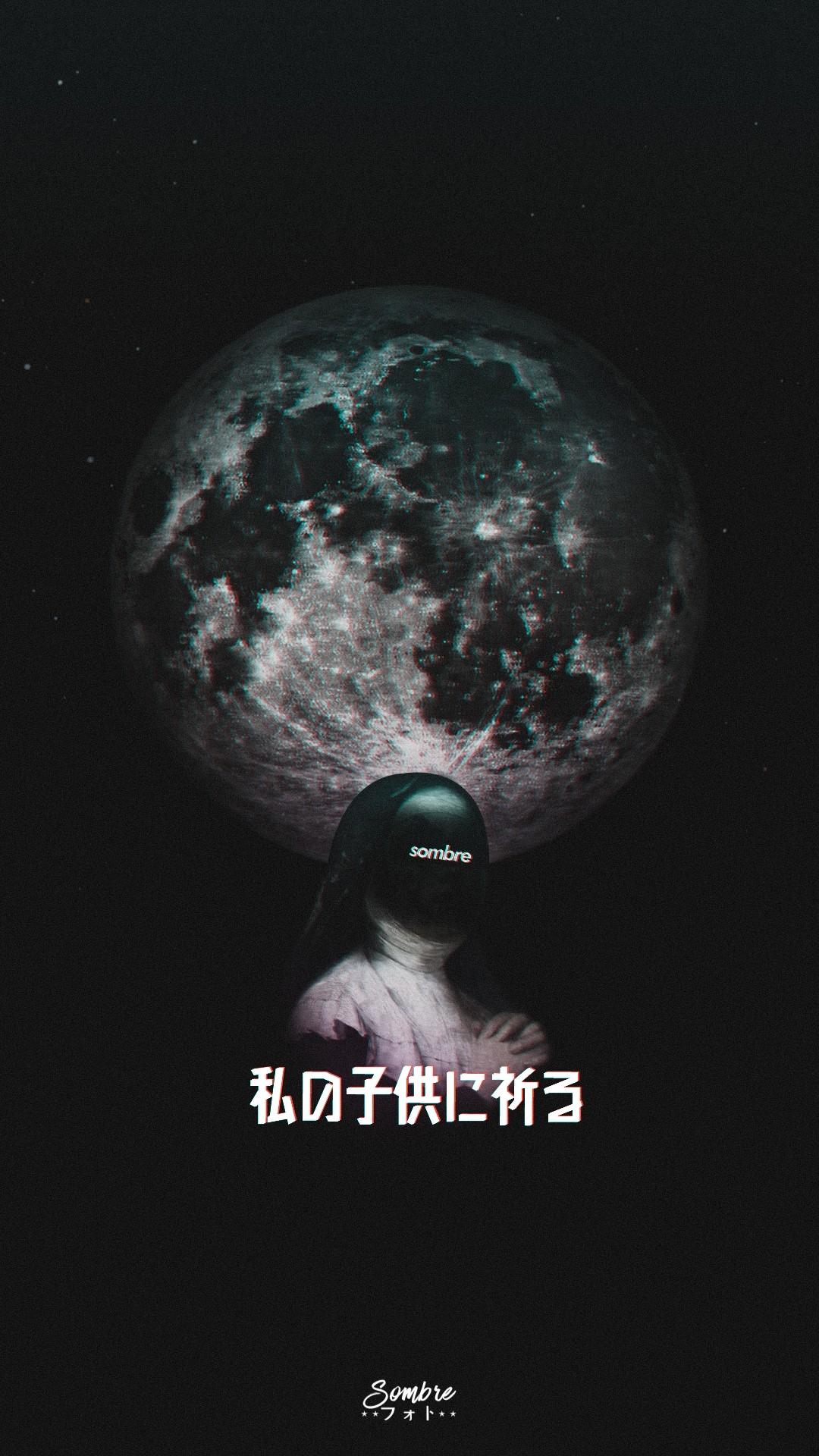 Abstract Moon Nun Phone Wallpaper Sombrenoob