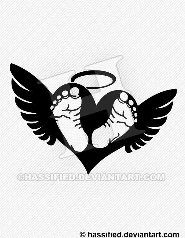 Baby Footprints on Heart with Wings - printable, vector, svg, art