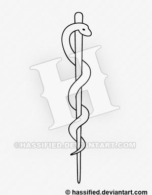 Rod of Asclepius - printable, vector, svg, art